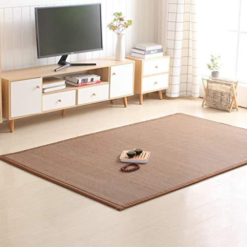 Sisal Teppich Aus Naturfasern,Bambus Teppich Mit Bordüre Aus Baumwolle,für Bad Und Wohnzimmer,Schlafzimmer (Color : Carbonized Color, Size : 130 * 150cm)