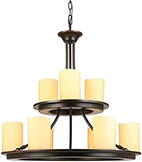 allen + roth Harpwell 9-Light Oil-Rubbed Bronze Traditional Tinted Glass Tiered Chandelier IXP8119A