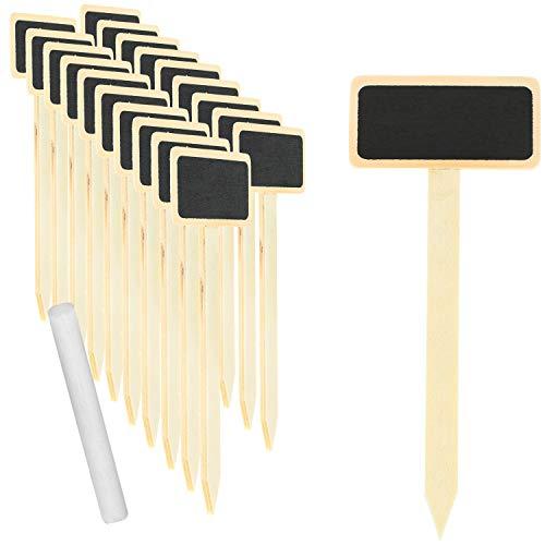 com-four® 20x Mini Holztafel-Set für Kräuter und Zimmer-Pflanzen, Steckschild aus Holz mit Kreide zum Beschriften und stecken für Pflanzentöpfe, Saatgut auch als Tisch-Deko (20 Stück - Natur/steck)