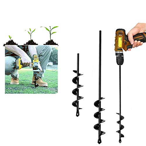ZGHYBD Garden Spiral Drill Bit Hole Diggers Auger Earth Auger Spiral Hole Tool Planting Garden Spiral Drill Bit, Non-Slip Garden Earth Auger Drill ? for Garden Yard Ground Planting (45cm)