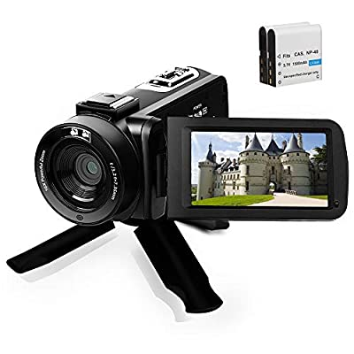 Full HD1080P Video CameraCamcorder 16X Digital Zoom YouTube Camera 3.0'' Touch Screen VloggingVideo Recorder with Remote Control and Tripod, 2 Batteries from Yelian