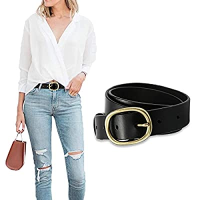 OZZEG Belts for Women Leather with Pin Buckle for Jeans Pants Casual Cowhide Solid Waist Belt for Ladies, Black S