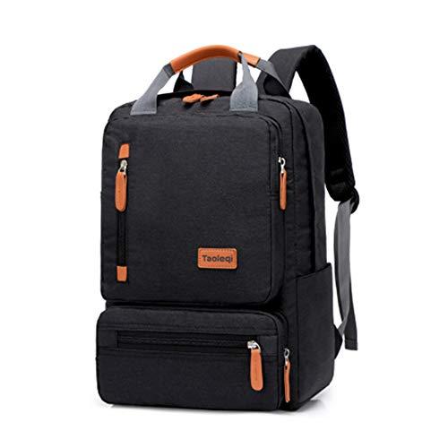 Zaino impermeabile per computer portatile con porta di ricarica USB, da uomo, borsa da viaggio, multifunzione, per il tempo libero Nero Nero