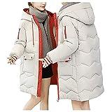 URIBAKY - Abrigo de mujer largo acolchado de ante con bolsillo para exteriores chaquetas, forro polar cálido de algodón, con capucha desmontable, blanco, M