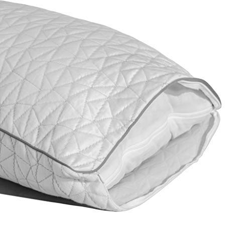 Coop Home Goods - Cooling Pillowcase for Hot Sleepers - Lulltra Cool Technology - Bamboo Derived Viscose Rayon and Jacquard - Smooth Breathable Both Sides Pillow Case Hidden Zipper (Queen)