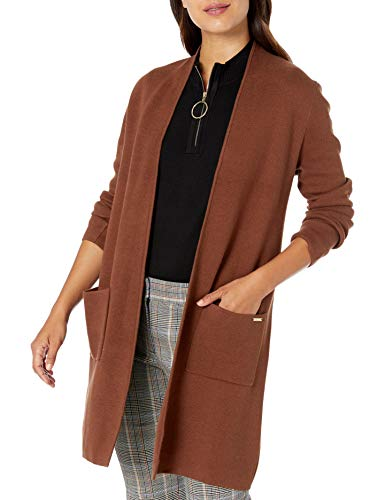 NINE WEST Women's Edge Cardigan with Patch Pockets, Brownstone, M
