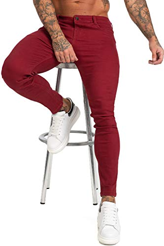 GINGTTO Skinny Jeans for Men Red Slim Fit Stretch Elastic Waist Casual Denim Pants 30W30L