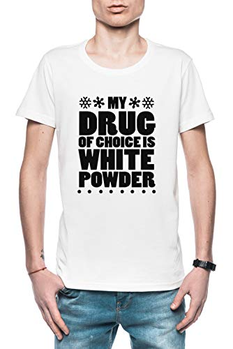 My Drug Of Choice Is White Powder Heren T-Shirt Wit Men's T-Shirt White