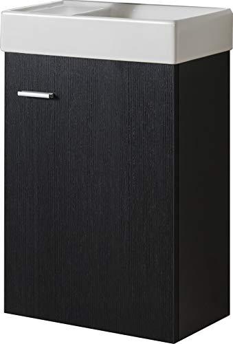 Badmöbel Unterschrank VISITO 40 in schwarz inkl. Waschtisch