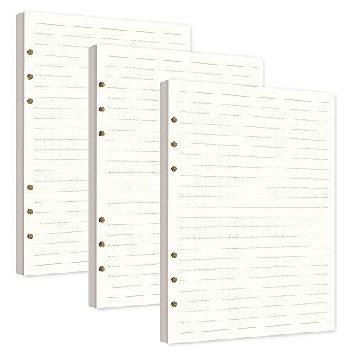 Confezioni di Ricarica di Carta A5 6 Fori Formato A5 Agenda Refill Paper per A5 Taccuino Diari Pittura Filofax Linea Orizzontale 3 Pacchi/240 Fogli