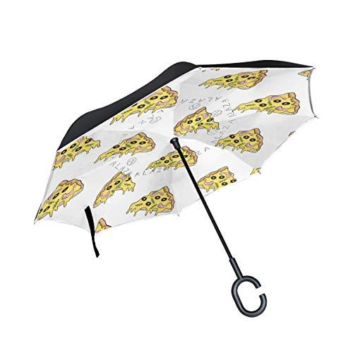 Orediy Umkehrbarer Regenschirm, Yummy Pizza Scheiben, doppelschichtig, Auto-Rückwärtsschirm, großer Outdoor-Regenschirm, UV-Schutz, Winddicht, Regen, Sonne, Reise-Regenschirm