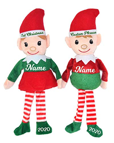 Christmas Elf Set of PERSONALIZED Christmas Elves. Boy and Girl - Choose White or Brown Color