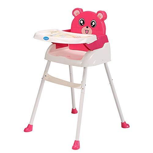 WUPYI2018 Baby Kinderhochstuhl, Klappbar Babyhochstuhl mit Tablett, Höhenverstellbar (Rot)