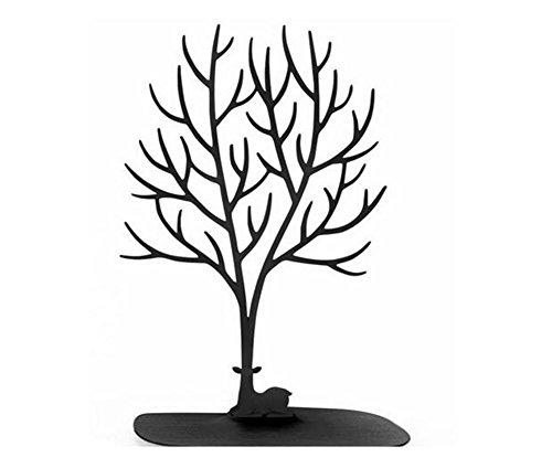 Présentoir pour bijoux en forme de cerf sika avec bois en forme d'arbre pour suspendre des bagues, colliers, ornements noir L