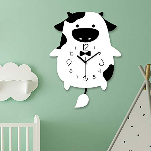 XFSE Reloj de Pared Vacas Columpio Infantil Sala De La Pared del Dormitorio del Reloj Acrílico Nursery Decoración Nórdica Hogar Moderno Historieta Creativa Silencio 30 * 46 * 8cm