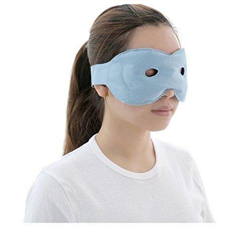 DEMET アイマスク 温熱 ホット 冷却 パック 温冷両用アイマスク マッサージビーズ 目の疲れ 浮腫みやクマ解消 目のSPA 寝室や旅行中の安眠に最適 日本語取扱説明(ブルー)
