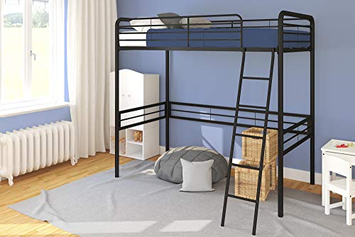 Check Out This DHP Simple Metal Loft Bed Frame, Multifunctional, Twin Size, Black