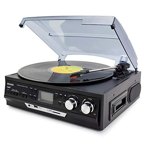 Beirich 3-Speed Vinyl LP Plattenspieler Plattenspieler-Player Integrierte Lautsprecher Gramophone AM/FM-Radio-Kassetten-USB/SD-Recorder