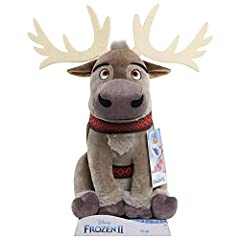 """Bring home the excitement of Disney Frozen 2 with the Large Plush Sven. Sven is made of super soft fabrics, and is wearing his printed harness as seen in Disney Frozen 2. Sven sits approximately 12"""" tall, making him a great size to snuggle! Collect b..."""