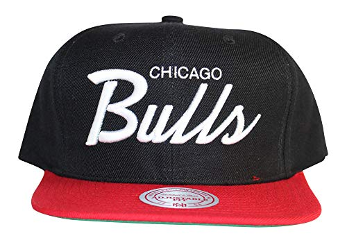 Mitchell & Ness Classic Script Snapback Adjustable Cap, Chicago Bulls (Black/Red/White), One Size