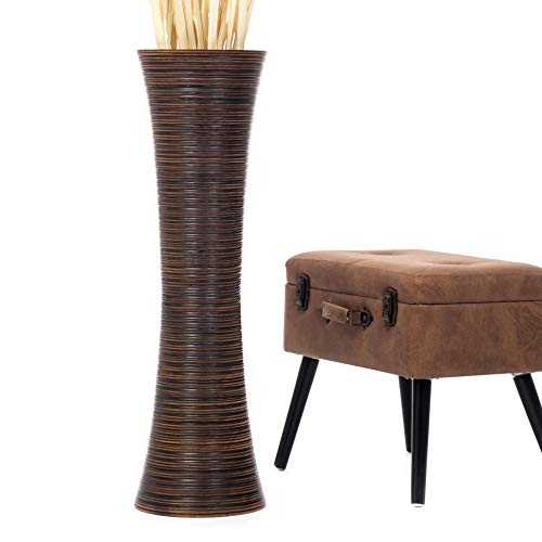 Leewadee jarrón Grande para el Suelo – Florero Alto y Hecho a Mano de Madera exótica, Recipiente de pie para Ramas Decorativas, 90 cm, marrón