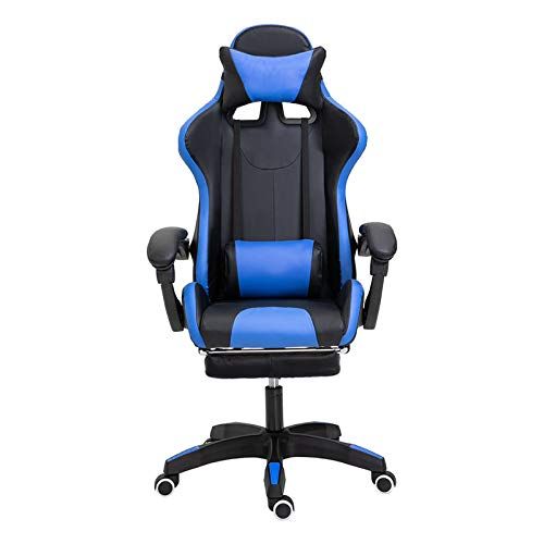Photno Gaming Chair for Adults Height Adjustable Backrest Reclining Leather Headrest Chair Lumbar Support Office Armchair Ergonomic Gaming Chair with Footrest PC Computer Chair (Blue)