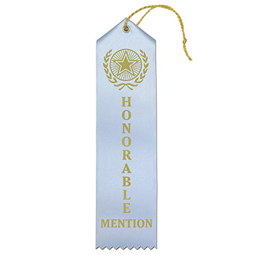 Honorable Mention Premium Award Ribbons with Card & String (Light Blue) - 25 Count Value Bundle - Metallic Gold foil Print