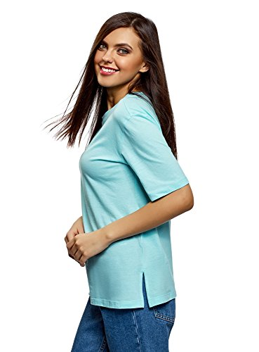 oodji Ultra Damen Lässiges T-Shirt mit Rundem Ausschnitt, Türkis, DE 42 / EU 44 / XL