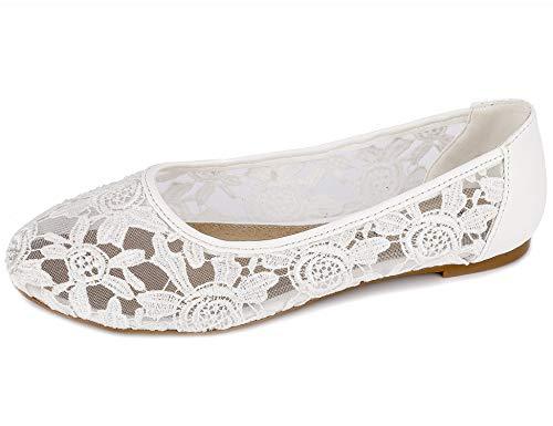 Greatonu Damen Geschlossene Ballerinas Brautschuhe Spitze Flache Schuhe Weiß Größe EU 41