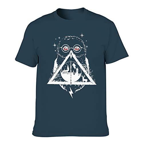 T-HGeschäft Camiseta elástica para hombre con diseño de búho y geométrico, para uso diario azul marino XL