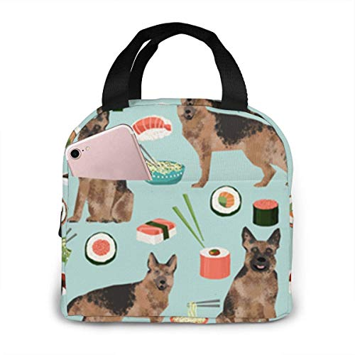 German Shepherd Puppy Pattern Portable Insulated Lunch Bag Tote 8.5 X 8 X 5 Inch Waterproof Meal Prep Box with Zipper for Office School Women Men Picnic Food Kids Girls Boys