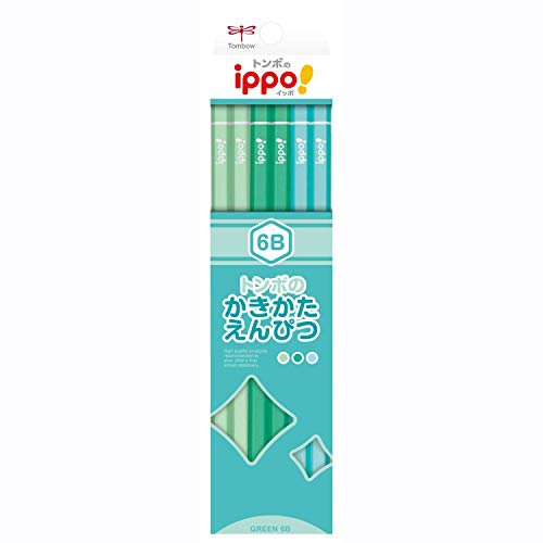 トンボ鉛筆 鉛筆 ippo! かきかたえんぴつ 6B プレーン Green KB-KPN04-6B