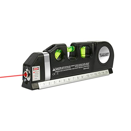 8 in 1 Tuulkit Multi Purpose Laser Level - 3X Spirit Levels - 3X Red Laser Pointer - 2.5m Tape Measure - 6 Inch Standard Imperial Ruler - DIY Multi Tool Perfect Gift Present