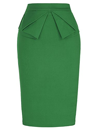 GRACE KARIN Slim Bodycon Skirt for Women Stretchy Waist Green S