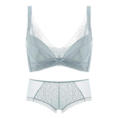 WENJUN Conjunto de sujetador y bragas para mujer, sin alambre, tamaño grande, diseño de encaje minimalista, color azul claro, talla 80 D