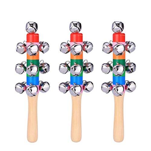 Younoo 3pc Handschlittenglocken für Baby Kinder, Holzgriff Weihnachtshand Jingle Bells für Weihnachtsdekoration Glocken Griff Home und Weihnachtsdekoration Musikinstrument Spielzeug (A)