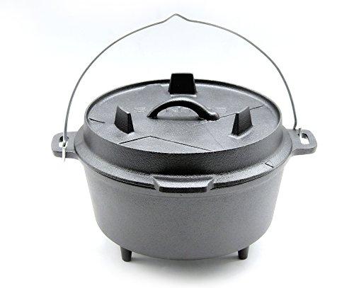 SANTOS Gusseisen Dutch Oven mit Füßen - Durchmesser 24cm x 9,5cm Höhe (ohne Deckel), 4 Liter, 2-3 Personen, 4,5 Qt, ca. 10\'\' - Feuertopf Schmortopf Camp Oven für Gasgrill Kohlegrill Offenes Feuer