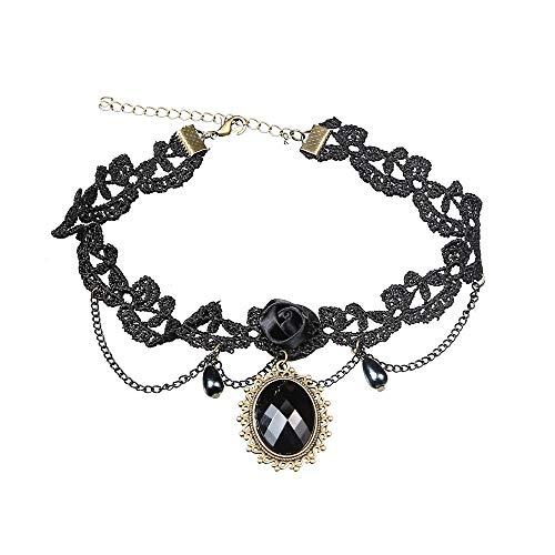Kercisbeauty Zwarte Kant Rose Choker met Kristallen Tassels Ketting voor Vrouwen en Meisjes Verstelbare Klassieke Ketting voor Prom