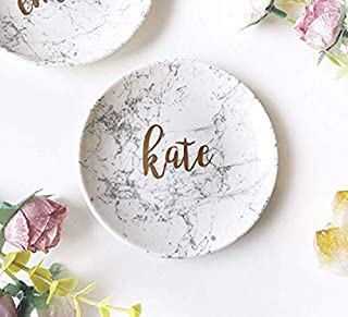 Personalised Ring Dish Holder marble ceramic Jewelry tray Storage rose gold bridesmaid wedding gift