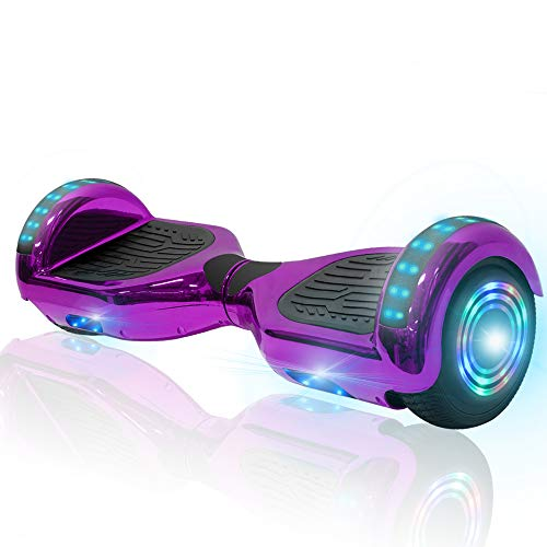NHT 6.5' Chrome Hoverboard Electric Smart Self Balancing Scooter with Bluetooth Speaker & Sidelights - UL2272 Certified (Purple)