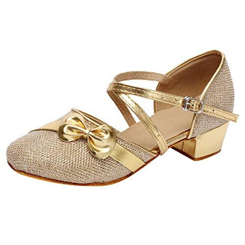 Zapatos Niña Princesa - Talla 24-35 - Zapatos Tacon de Fiesta - Disfraz Sandalias de Vestir - Zapatos de Baile Latino Satén Ballroom Danza