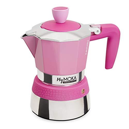 PEDRINI MyMoka Kaffeemaschine für Induktionskochfeld, 3-Tassen-Format, Espressokocher Moka Pinkpop Farbe (rosa), Stahl außen, Aluminium innen, italienisches Design, Maße 15 x 9 x 15 cm