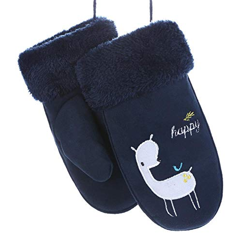 GUANAI Handschuhe Niedlichen Cartoon-Lederhandschuhe Jungen/Mädchen Winter Dicke Dicke warme Drucksporthandschuhe Spielen b Cyan