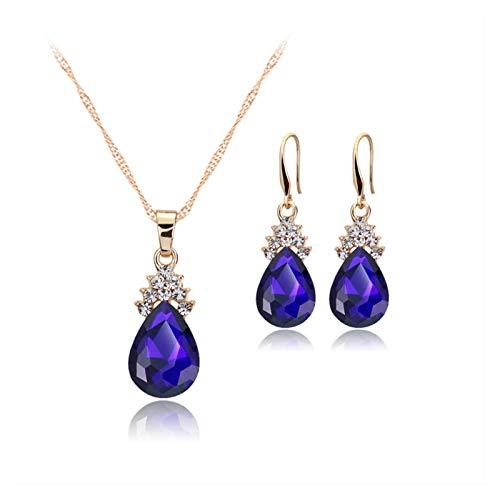 DSJTCH Collar de joyería Europea o Americana Anillo de Oreja Juego de Joyas Aleación Ambiental Cristal Angel Lágrimas Plata Cadena de Aseo (Color : Blue)