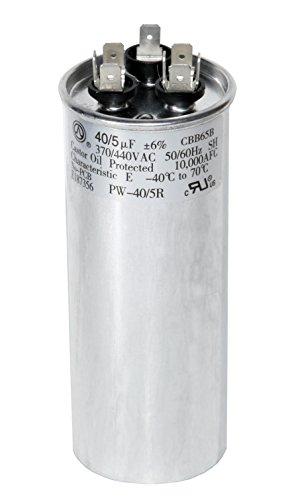 PowerWell 40 + 5 MFD uf 370 VAC or 440 Volt Dual Run Round Capacitor PW-40/5/R for Condenser Straight Cool or Heat Pump Air Conditioner 40/5 Micro Farad