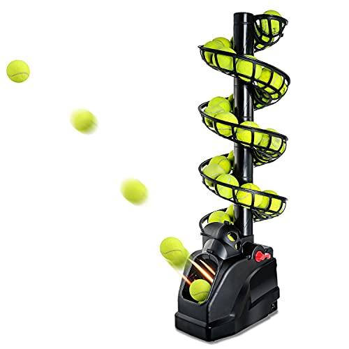 Teknigoo Máquina portátil de la pelota de tenis (4 libras) para el auto-juego para principiantes/niños/entrenadores/cancha casera para todos los niveles y edades| CA y alimentado con pilas