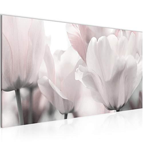 Bilder Blumen Tulpen Wandbild Vlies - Leinwand Bild XXL Format Wandbilder Wohnzimmer Wohnung Deko Kunstdrucke Rosa Grau 1 Teilig - MADE IN GERMANY - Fertig zum Aufhängen 203912c