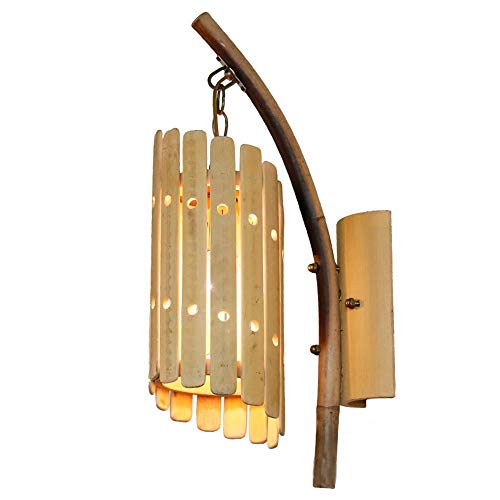 LCSD Lámpara de pared de bambú, lámpara de pared creativa para restaurante de salón, lámpara de pared china de viento (250 x 135 x 490 mm, boquilla de rosca E27)