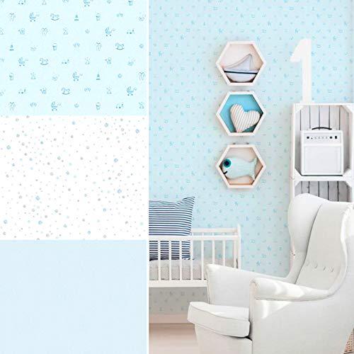 #PVC-vrij blauwe 3D vliesbehang milieuvriendelijk kinderbehang blauw slaapkamer wandschilderij behang babykamer fotobehang Made in Germany 10.05 m x 0.53 m Behang blauw.