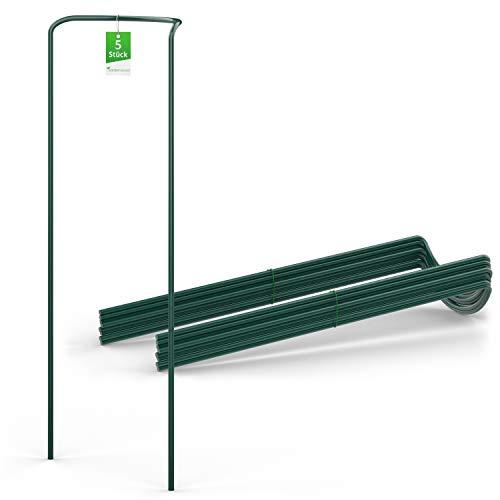 GardenGloss® Strauchstützen aus beschichtetem Stahl (5 Stück) - Staudenhalter halbrund 100cm x 40cm - Blumenstütze für Hortensien und Rosen - Pflanzenstütze aus Stahl
